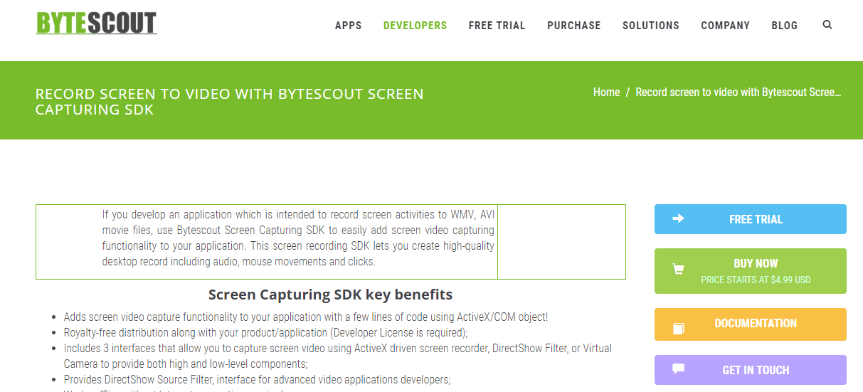 Get Bytescout Screen Capturing [for PC] for free (Giveaway)