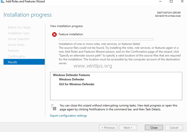 FIX: Windows Defender Feature Installation Failed–Source files could not be found in Server 2016 (Solved)