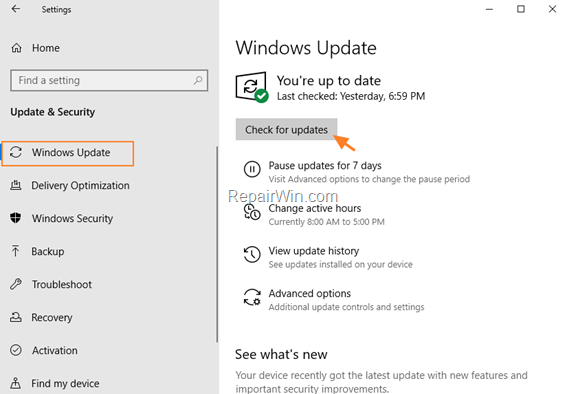 Windows 10 - Check For Updates