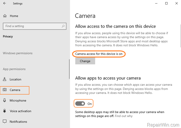 Allow Apps to Access Camera Windows 10