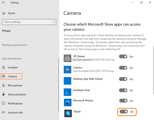 Allow Store Apps to Access Camera Windows 10