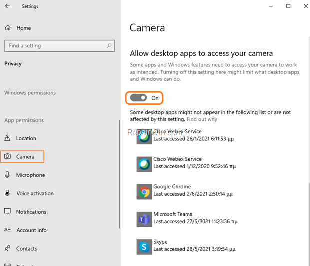 Allow Applications to Access Camera Windows 10