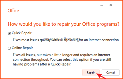 Quick Repair Office 2016 - Office 2019