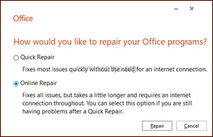 Online Repair Office 2019 -2016