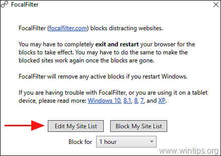 Block Site with FocalFilter