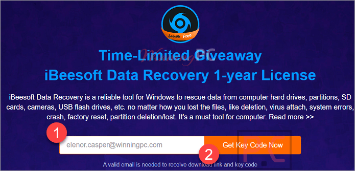 Ibeesoft Data Recovery Giveaway Page